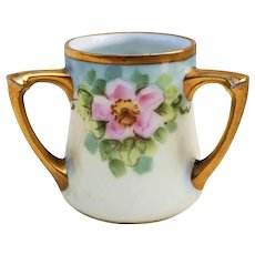 """Beautiful Vintage RS Germany 1900's Hand Painted """"Wild Pink Roses"""" 3-Handle Floral Toothpick Holder"""