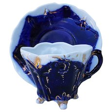 Rich & Colorful Vintage RS Prussia 1900 Cobalt Blue 4-Footed Cup & Saucer