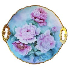 "Spectacular Bavaria Hutschenreuther 1900's Hand Painted Vibrant ""Pink Roses"" 11-1/2"" Floral Plate by Artist, ""Marion Goebel O'Brien"""