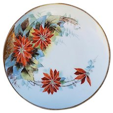 "Elegant Austria & Donath Studio of Chicago 1906 Hand Painted ""Poinsettia"" 8"" Christmas Floral Plate by Listed Artist, ""Myrtle Peplow"""