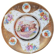 "RS Prussia [ES] Vintage 1900 ""God Apollo Driving His Chariot Across the Sky"" 8"" Scenic & Floral Plate"