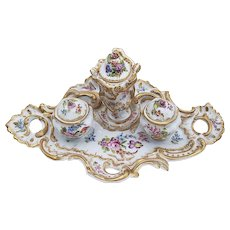 """Museum Quality Ornate Meissen Pre-1900 Hand Painted """"Wild Flowers"""" 11-1/2"""" Fancy Scroll Floral Ink Well"""