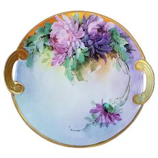 "Beautiful Vintage 1900's Hand Painted ""Purple & Pink Mums"" 8"" Floral Plate by Listed Chicago Professional Decorator, ""Ida Sommer"""