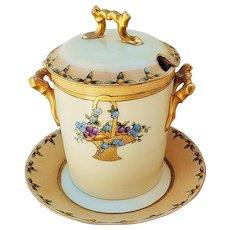 """Gorgeous Vintage B & Co. France Limoges 1917 Hand Painted """"Hanging Basket of Violets & Fruit"""" Scenic Jam Jar by Artist, """"E.G.H."""""""