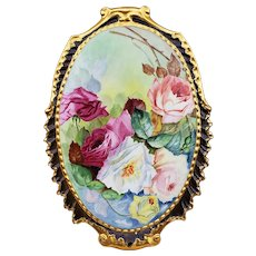 "Spectacular Vintage Limoges France 1905 Hand Painted ""Red, Pink, Peach, Yellow, & White Roses"" 13-1/4"" Floral Plaque by Artist, ""R.H."""