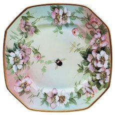 "Outstanding B & Co. Limoges France Vintage 1900 Hand Painted ""Wild Roses with A Bumblebee"" 9-3/4"" Hexagonal Floral Plate by Artist, ""Ester Miler"""
