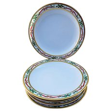 """Outstanding Germany Bavaria Tirschenreuth 1900's Hand Painted """"Holly & Berry"""" Set of 5 Christmas Plates"""