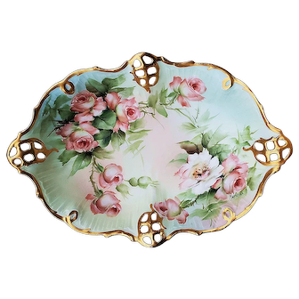 """F.H. Spear"" Fabulous Vintage Rosenthal Bavaria 1900's Hand Painted ""White & Peach Roses"" 11"" Reticulated Floral Shallow Tray"