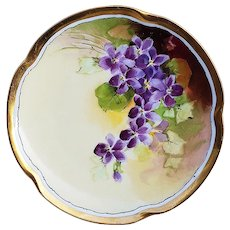 "Exceptional JC Bavaria & Julius Brauer Studio of Chicago 1905 Hand Painted ""Violets"" Floral Plate by ""Julius Brauer"""