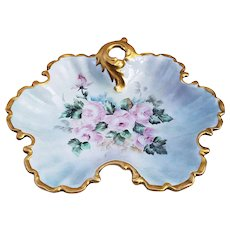 """Outstanding Bavaria 1900's Hand Painted """"Soft Pink Roses"""" 8-1/8"""" Fancy Scallop Floral Nappy Dish by Artist, """"G.C.M."""""""