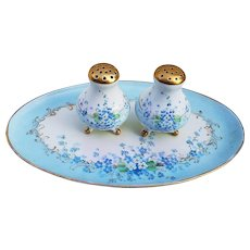"Charming MZ Austria Vintage 1900's Hand Painted ""Forget Me Not"" 3-Pc Condiment Set by Pickard Artist, ""Minnie Luken"""