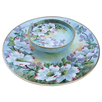 "Spectacular Paul Putzki Vintage T & V Limoges 1900's Hand Painted ""White Magnolia"" Floral Two-Tier Cheese Server"