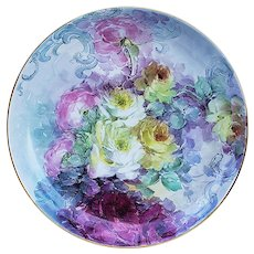 "Phenomenal Large 12-5/8"" Bavaria 1900's Hand Painted Vibrant ""Red, Pink, Yellow, & White Roses"" Floral Charger"