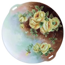 """Beautiful Omhe Germany Silesia1900's Hand Painted """"Deep Yellow Roses"""" 10"""" Floral Plate"""