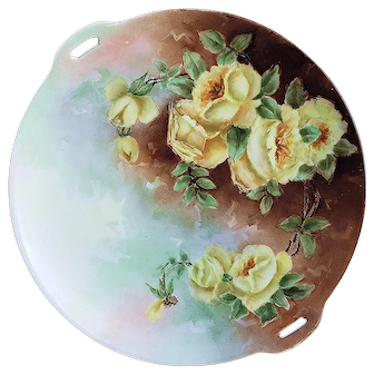 "Beautiful Omhe Germany Silesia1900's Hand Painted ""Deep Yellow Roses"" 10"" Floral Plate"