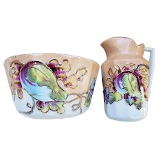 Charming Vintage RS Prussia 1900 Hand Painted Colorful 2-Pc Child's Mush Set
