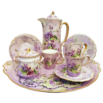 "Museum Quality Bavaria 1900's Hand Painted ""Violets"" 11 Pc Floral Chocolate Set & Tray by Artist, ""B. T."""