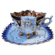 Fancy German 1900 Hand Painted Cobalt Blue & Gold 4-Footed Cup & Saucer