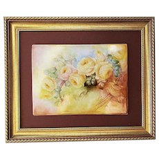"Magnificent & Large T & V Limoges France 1900 Hand Painted ""Yellow Roses"" 14"" x 10"" Floral Plaque by Artist, ""A.T. McClure"""