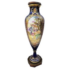 "Magnificent 16"" Sevres France Pre-1900 Hand Painted ""Romantic Gentlemen & Lady in A Meadow"" Cobalt Blue Scenic Vase by Artist, ""Roulac"""
