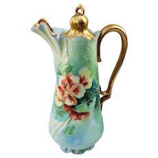 "Charming Vintage Bavaria 1900's Hand Painted ""Burnt Orange Poppies"" Floral Chocolate Pot"