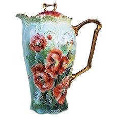 "Beautiful Bavaria 1900 Hand Painted ""Burnt Orange Poppy"" 10"" Floral Chocolate Pot by Artist, ""Everett"""