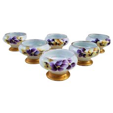 "Wonderful Vintage O.E.& G Royal Austria 1900's Hand Painted ""Purple & Yellow Pansies"" Set 0f 6 Floral Pedestal Salt Dips"