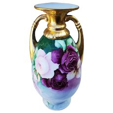"Impressive & Large 13-1/4"" Bavaria 1900 Hand Painted Vibrant ""Red & Pink Roses"" Heavy Gold Floral Vase"