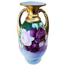 "Impressive & Large 13-1/4"" Bavaria 1900 Hand Painted Vibrant ""Red & Pink Roses"" Heavy Gold Floral Vase"