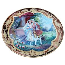 "Wonderful Museum Quality KPM Pre-1900 Hand Painted ""Nach der Trauung"" [After the Wedding Ceremony] 10"" Intricate Gold Scenic Plate"