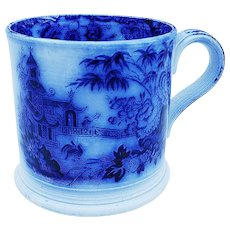 Wonderful English Pre-1900 Flow Blue With Old Chinese Siheyuan House,  Chinaman, & Peacocks Scenic Shaving Mug