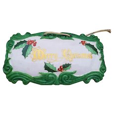 "Charming Bavaria 1950's Hand Painted ""Merry Christmas"" 7-3/8""  Holly & Berry Holiday Plaque by Artist, ""Floy Jones"""