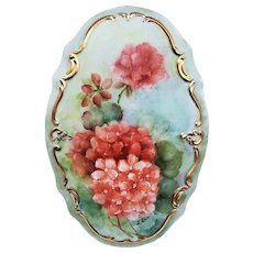 "Outstanding Limoges France 1900's Hand Painted ""Burnt Orange Zinnias"" 9"" x 6"" Floral Plaque by Artist, ""L. Ann"""
