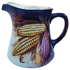 """Outstanding Bavaria Vintage 1884 Hand Painted """"Indian Corn"""" Cider Pitcher by Artist, """"Helen Pepcon"""""""