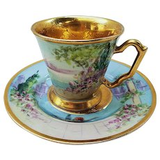 """Fabulous Tolpin Art Studio of Chicago 1920's Hand Painted """"Italian Gardens"""" Scenic Cup & Saucer"""