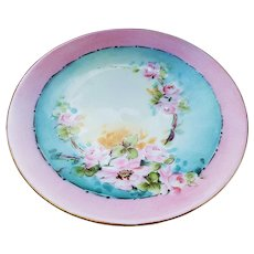 "Gorgeous & Colorful Vintage Bavaria 1900's Hand Painted ""Wild Pink Roses"" Floral Plate"