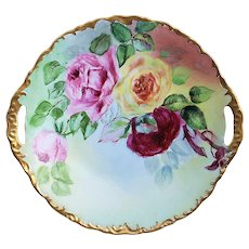 """Stunning Bavaria Vintage 1906 Hand Painted """"Red, Pink, & Yellow Roses"""" 10-1/2"""" Rococo Style Floral Plate by Artist, """"S.L."""""""