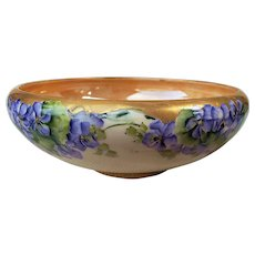 "Wonderful Willets Belleek Vintage 1900's Hand Painted ""Violets"" 8"" Floral Pedestal Bowl"