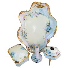 "Marvelous Limoges France 1900's Hand Painted ""Forget Me Not & Pink Violets"" 4-Pc Floral Dresser Set by Artist, ""Millicent Krauth"""