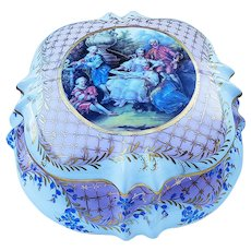 "Outstanding 9-1/2"" Dresden 1900's ""Musicians Entertaining the Ladies & a Gentlemen"" Scenic Dresser Box"