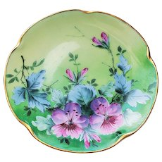 "Wonderful Vintage JC Bavaria & Stouffer Studio of Chicago 1906 Hand Painted ""Pink Geraniums"" Floral Plate"