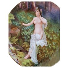 "Stunning Royal Vienna 1900 Hand Painted ""Greek Nude Mountain Nymph, Echo"" 10"" Portrait Scenic Plate by the Artist, ""Lamb"""