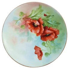 """Attractive Omhe Silesia 1920's Hand Painted """"Burnt Orange Poppy"""" Floral Plate by Listed Pickard Artist, """"Alfred Keates"""""""