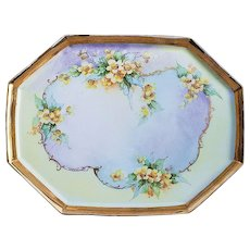 "Beautiful Vintage J.P.L. Limoges France 1920's Hand Painted ""Wild Yellow Roses"" 12-1/2"" Floral Tray by the Early Chicago Artist, ""Kimmel"""