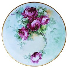 "12-1/2"" Vintage Germany Bavaria 1900's ""Red Roses"" Floral Charger by the Artist, ""Henschel"""