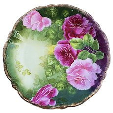 "Marvelous PT Germany 1900's Hand Painted ""Red & Pink Roses"" 8-1/2"" Floral Plate"