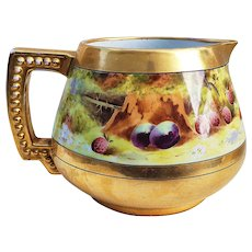 "Fabulous J.P.L. France Limoges 1910 Hand Painted ""Deserted Garden"" 6"" Cider Pitcher by Pickard Artist, ""Antol Schoenig"""