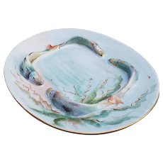 "Outstanding Vintage Rosenthal Bavaria 1923 Hand Painted ""Sea Life"" 7-3/4"" Sardine Tray by the Artist, ""J. Sprenge"""