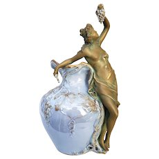 "Fabulous Vintage Austria Ernst Wahliss Turn Wien 19th Century ""Partially Nude Greek Goddess Eating Grapes"" 11-1/4"" Figural Light Lavender Pitcher"