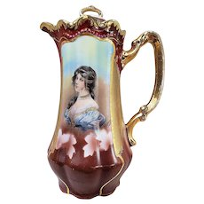 "Beautiful Vintage Germany Three Crown 1900's ""Victorian Lady"" 10"" Portrait Chocolate Pot, Signed by ""P. Astoni"""